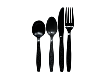 Black Lightweight Knives, Forks and Spoons
